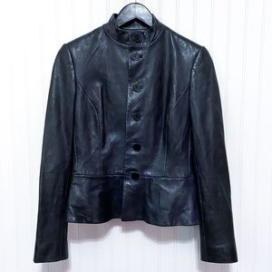 Ralph Lauren Black Label Navy Lamb Leather Jacket